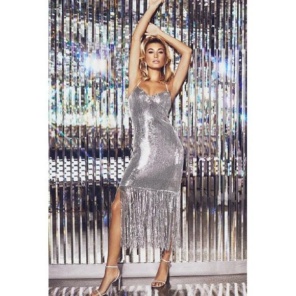 fd4cb093 PrettyLittleThing Dresses | Pretty Little Thing Silver Sequin Tassle ...